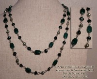 Dark Green Adventurine and Freshwater Pearl Necklace