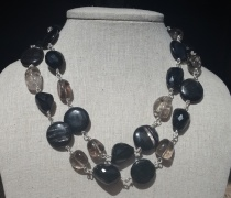 Black Agate and Smokey Quartz Double Necklace