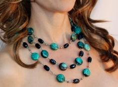 Turquoise and Smoky Quartz Necklace